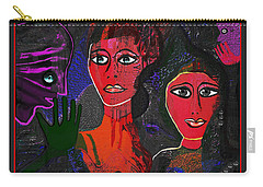 Carry-all Pouch featuring the digital art 1977 - Faces Red by Irmgard Schoendorf Welch