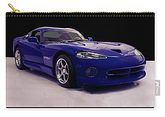 Carry-all Pouch featuring the digital art 1997 Dodge Viper Gts Blue by Chris Flees