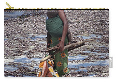 African Woman Collecting Shells 1 Carry-all Pouch