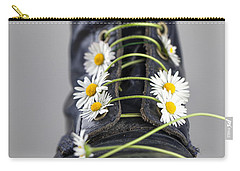 Boots With Daisy Flowers Carry-all Pouch by Nailia Schwarz