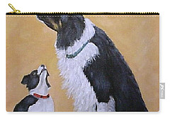 Carry-all Pouch featuring the painting Border Collie Wisdom by Fran Brooks