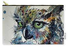 Carry-all Pouch featuring the painting Cute Owl by Kovacs Anna Brigitta