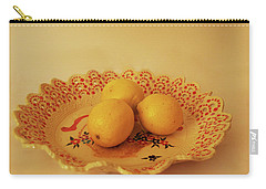 Decorated Plate With A Basket And Flowers Carry-all Pouch