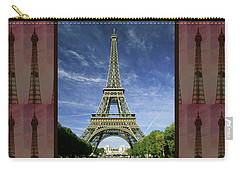 Carry-all Pouch featuring the photograph Effel Tower Paris France Landmark Photography Towels Pillows Curtains Tote Bags by Navin Joshi