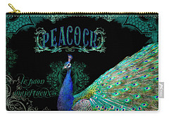 Elegant Peacock W Vintage Scrolls  Carry-all Pouch by Audrey Jeanne Roberts