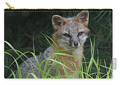 Gray Fox In The Grass Carry-all Pouch