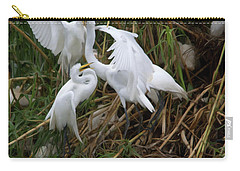 Great Egret Feeding Their Young - Digitalart Carry-all Pouch