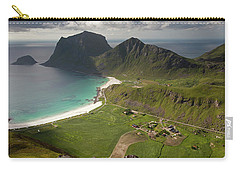 Haukland And Vik Beaches From Holandsmelen Carry-all Pouch by Aivar Mikko