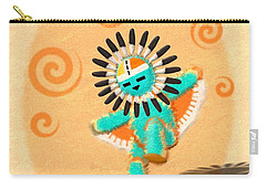 Carry-all Pouch featuring the digital art Hopi Sun Face Kachina by John Wills