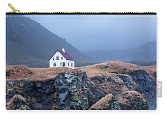House On Ocean Cliff In Iceland Carry-all Pouch