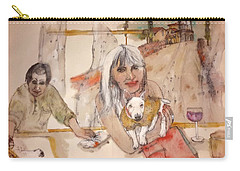 Carry-all Pouch featuring the painting Italy Love Life And  Linguini Album by Debbi Saccomanno Chan