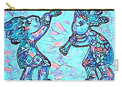 2 Kokopellis In Turquoise Carry-all Pouch