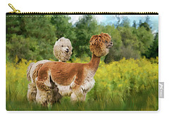 Carry-all Pouch featuring the photograph 2 Little Llamas by Mary Timman