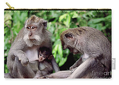 Long Tailed Macaques  Carry-all Pouch by Cassandra Buckley