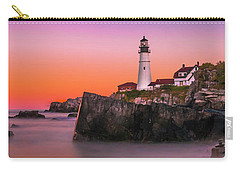 Carry-all Pouch featuring the photograph Maine Portland Headlight Lighthouse At Sunset by Ranjay Mitra