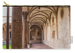 Carry-all Pouch featuring the photograph Medieval Hallway Of Italian Cloister by Patricia Hofmeester