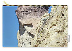 Carry-all Pouch featuring the digital art Monkey Face Rock - Smith Rock National Park by Joseph Hendrix