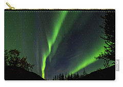 Northern Lights, Aurora Borealis At Kantishna Lodge In Denali National Park Carry-all Pouch by Brenda Jacobs