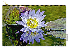 Purple Water Lily Pond Carry-all Pouch by Carol F Austin