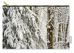 Carry-all Pouch featuring the photograph Rail Fence And Snow by Thomas R Fletcher