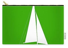 Sailboat In Green And White Carry-all Pouch