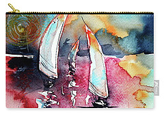 Carry-all Pouch featuring the painting Sailboats by Kovacs Anna Brigitta