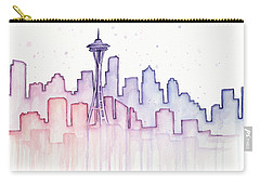 Seattle Skyline Watercolor Carry-all Pouch by Olga Shvartsur