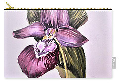 Carry-all Pouch featuring the painting Slipper Foot Orchid by Mindy Newman