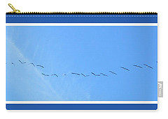 String Of Birds In Blue Carry-all Pouch