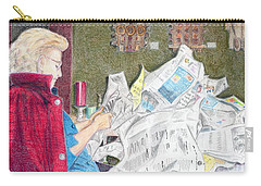 Carry-all Pouch featuring the drawing Unwrap by Yoshiko Mishina