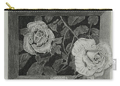 2 White Roses Carry-all Pouch
