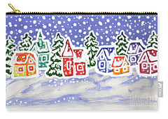 Winter Landscape With Multicolor Houses, Painting Carry-all Pouch
