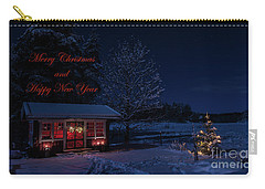Carry-all Pouch featuring the photograph Winter Night Greetings In English by Torbjorn Swenelius