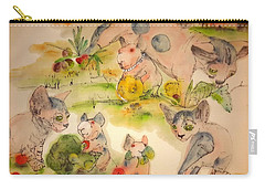 Carry-all Pouch featuring the painting World Of Guinea Pigs And Naked Cats Album by Debbi Saccomanno Chan