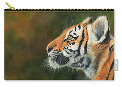 Carry-all Pouch featuring the painting Young Amur Tiger  by David Stribbling