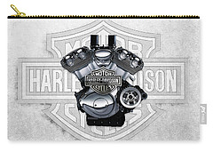 Carry-all Pouch featuring the digital art 2002 Harley-davidson Revolution Engine With 3d Badge  by Serge Averbukh