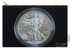 Carry-all Pouch featuring the photograph 2013 Enhanced Uncirculated Silver Eagle Dollar Coin by Randy Steele