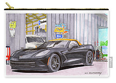 2014 Corvette And Man Cave Garage Carry-all Pouch by Jack Pumphrey