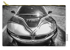 Carry-all Pouch featuring the photograph 2015 Bmw I8 Hybrid Sports Car Bw by Rich Franco