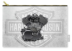Carry-all Pouch featuring the digital art 2015 Harley-davidson Street-xg750 Engine With 3d Badge  by Serge Averbukh