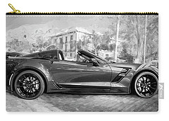 Carry-all Pouch featuring the photograph 2017 Chevrolet Corvette Gran Sport Bw by Rich Franco
