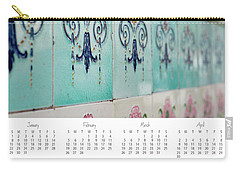 Carry-all Pouch featuring the photograph 2017 Wall Calendar Blue Ceramic Tiles by Ivy Ho