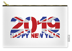 2019 Happy New Year England Flag Illustration Carry-all Pouch