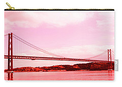 25 De Abril Bridge In Crimson Carry-all Pouch by Lorraine Devon Wilke