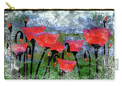 26a Abstract Floral Red Poppy Painting Carry-all Pouch