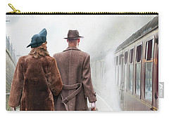 1940's Couple On A Railway Platform With Steam Train  Carry-all Pouch by Lee Avison