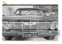 Carry-all Pouch featuring the photograph 1961 Chevrolet Impala Ss Bw by Rich Franco
