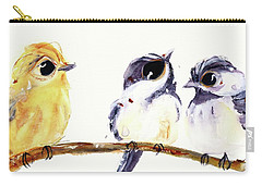 Carry-all Pouch featuring the painting 3 Birds On A Branch by Dawn Derman