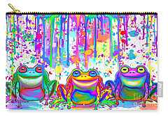 Carry-all Pouch featuring the painting 3 Colorful Painted Frogs by Nick Gustafson