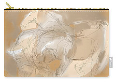 Carry-all Pouch featuring the digital art 3 Horses by Mary Armstrong